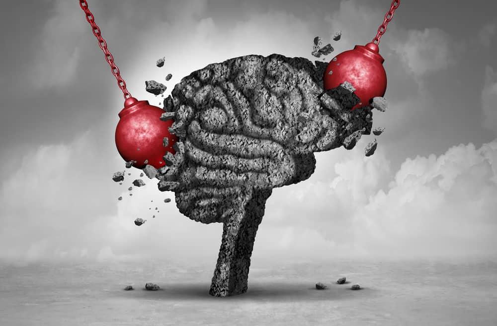 Headache pain & pounding painful migraine concept